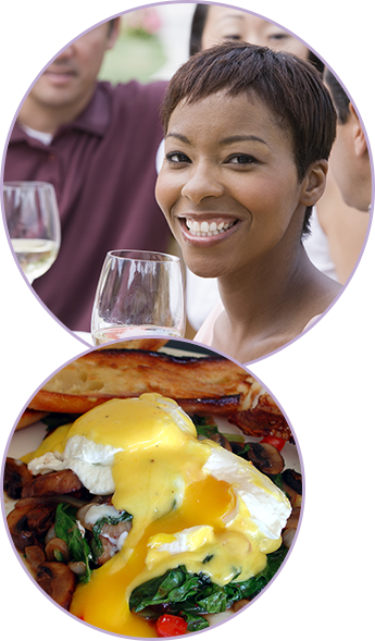 Woman with Wine Glass, Eggs Benedict